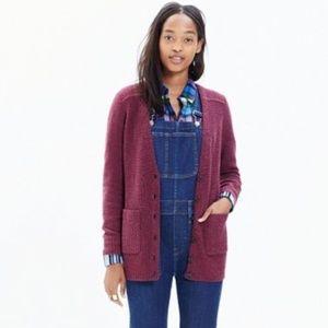 Madewell University Cardigan Sweater in Cranberry